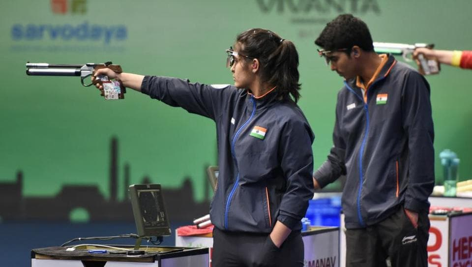 Indian shooters Manu Bhaker and Saurabh Chaudhary at the ISSF World Cup in New Delhi.
