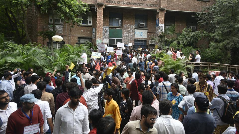Supporters of a candidate shout slogans during voting day of the Jawaharlal Nehru University Students' Union elections at the university campus in New Delhi, India, on Friday