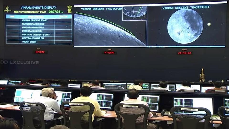Scientists monitor, as Vikram Lander begins its descent on the south pole of the moon, at ISRO office in Bengaluru on Saturday.