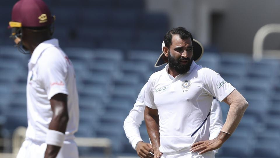 India's Mohammed Shami during a Test match against West Indies