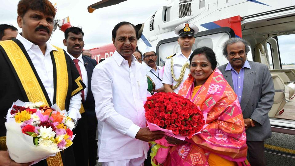 Tamilisai Soundararajan, the second Governor of Telangana, was received at the airport by chief minister K Chandrasekhar Rao.