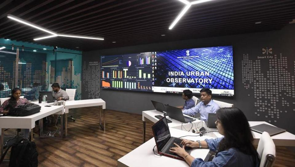 The India Urban Observatory room at urban development ministry office at Nirman Bhawan.
