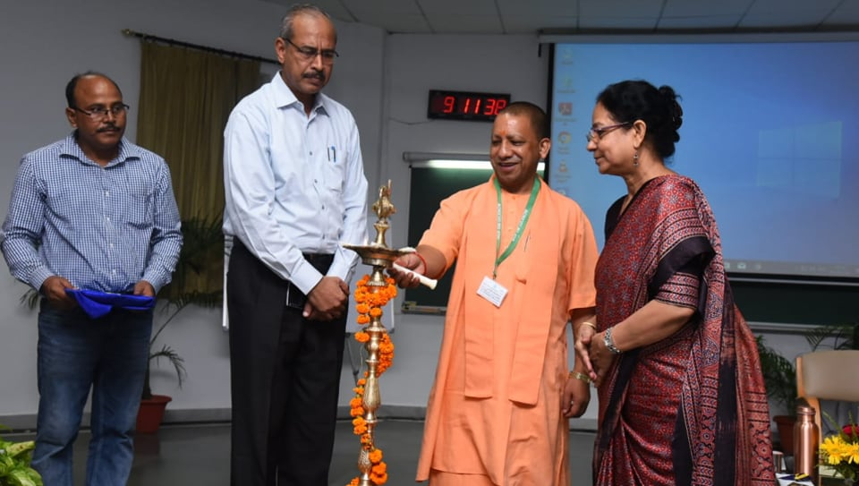 CM Yogi Adityanath, government's economic advisor KV Raju and IIM-L director Professor Archana Shukla at the inauguration of the novel crash course on leadership and governance for UP ministers