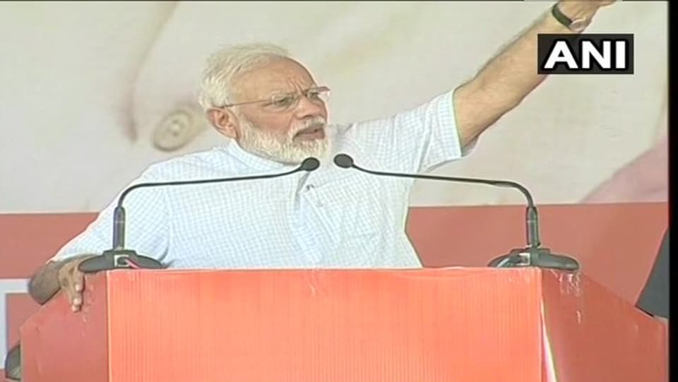 Prime Minister Narendra Modi addressing an election rally in Rohtak on Sunday.