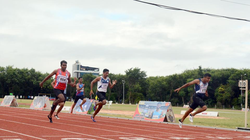 Mohammed Ajmal on the right corner in action during the 200m race at Army Sports in Pune, India, on Saturday.