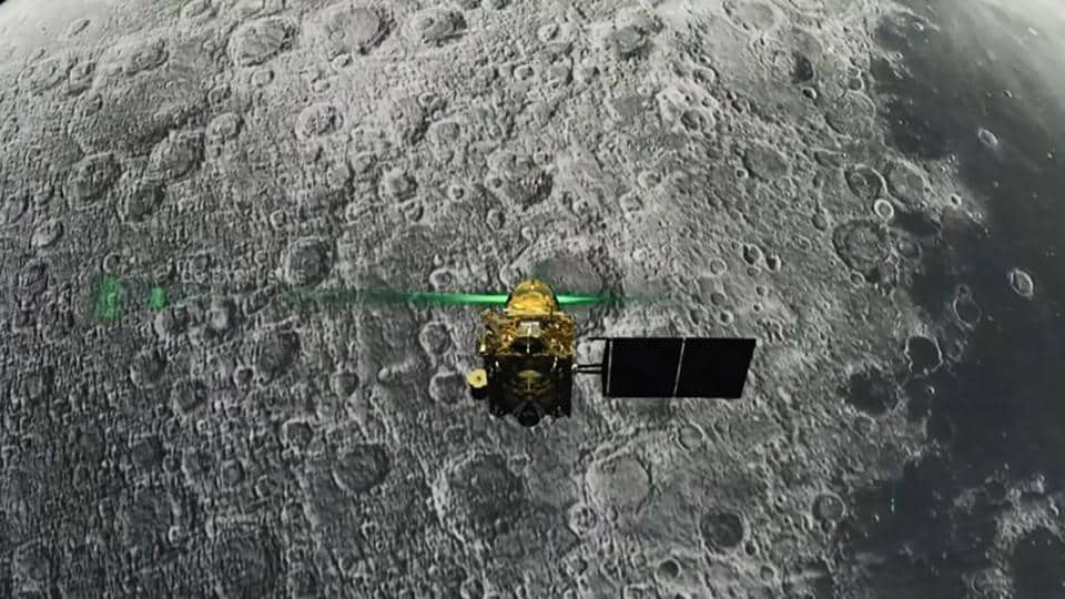 This screen grab taken from a live webcast by Indian Space Research Organisation (ISRO) on August 6, 2019, shows Vikram Lander before it is supposed to land on the Moon