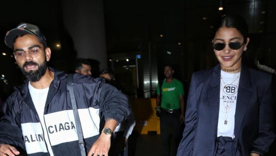 Virat Kohli and Anushka Sharma at the Mumbai airport.