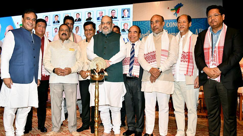 Union Home Minister Amit Shah, Union Minister of State (Independent Charge) for the Development of North Eastern Region Dr Jitendra Singh and Chief Ministers of Northeastern states during the 4th Conclave of North East Democratic Alliance (NEDA) in Guwahati on Monday.
