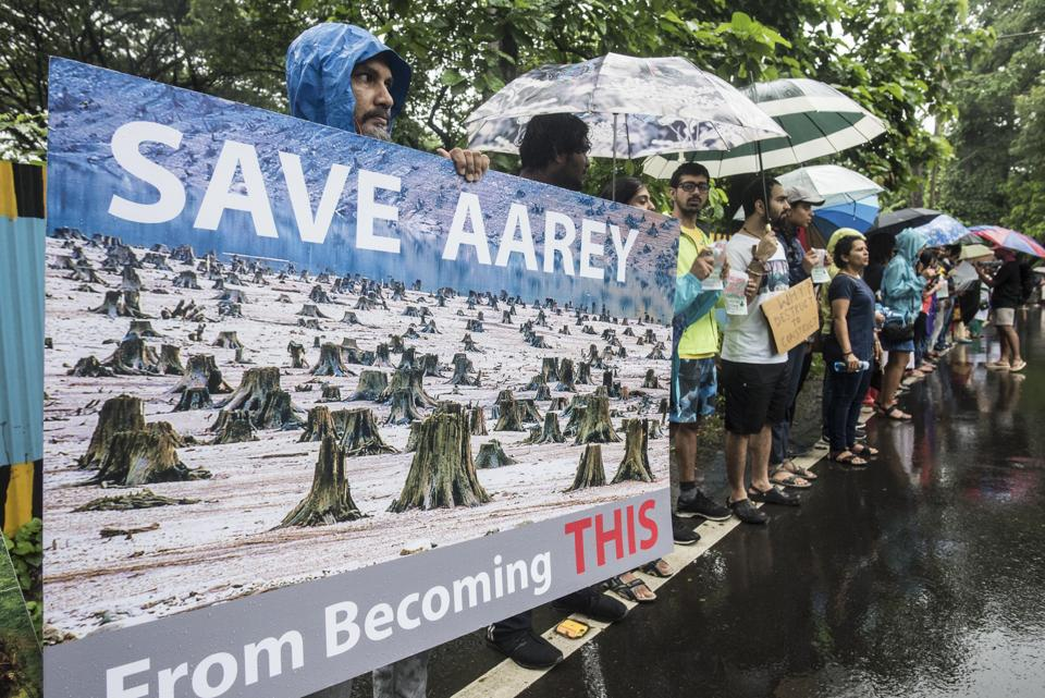 People protest against the cutting of 2,700 trees for the Metro car shed at Aarey colony, on September 8.