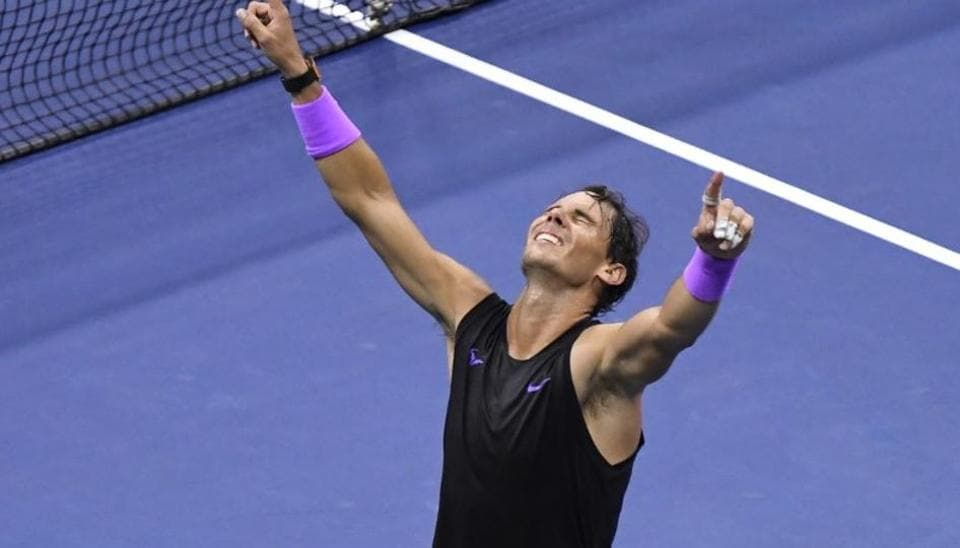 Rafael Nadal of Spain celebrates match point against Daniil Medvedev of Russia