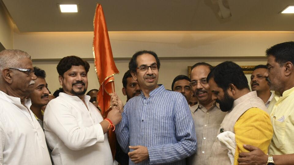 The exodus from the Nationalist Congress Party (NCP) continued on Monday, with its MLA from Shrivardhan constituency in Raigad district, Avdhut Tatkare, joining the Shiv Sena. (Photo by Rajesh Waradkar)