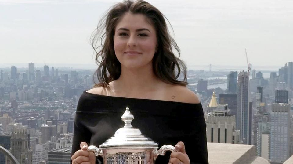 US Open winner Bianca Andreescu poses with her trophy.