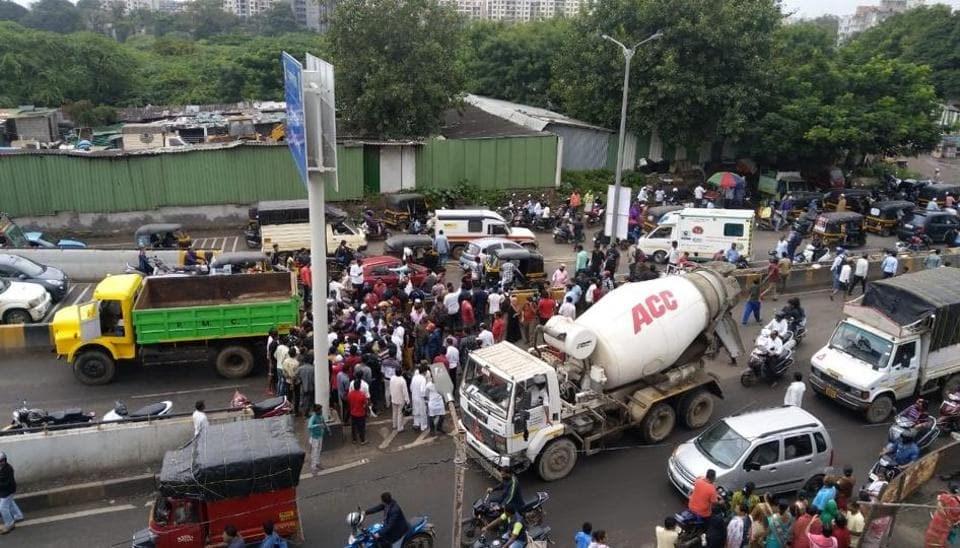 A two-wheeler rider came under the wheels of a PMC garbage truck, died before he could reach the hospital.