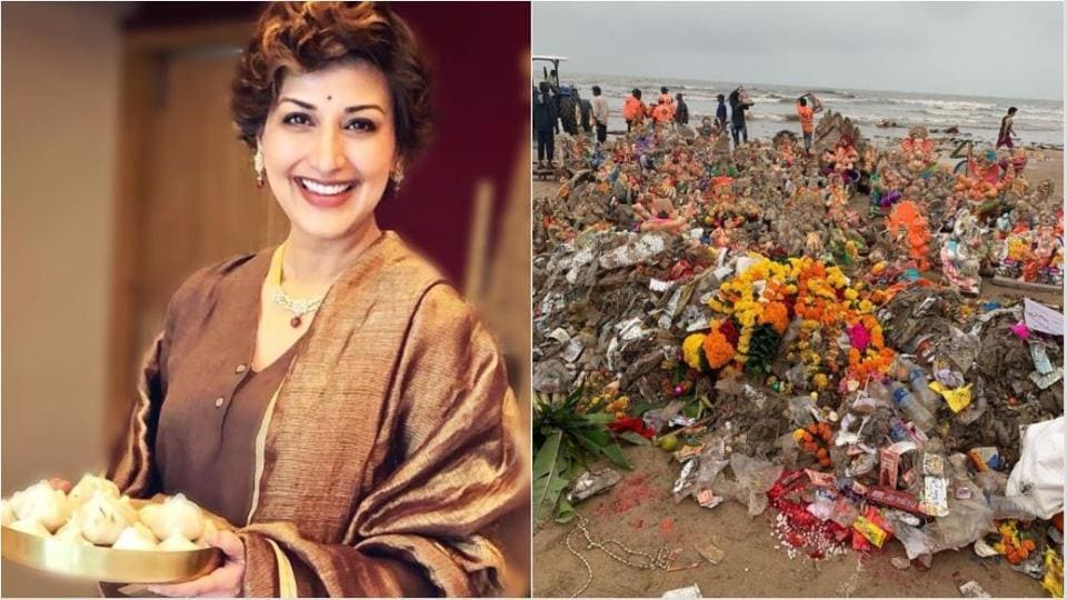 Sonali Bendre has shared a picture of the Juhu Beach after Ganpati immersion.
