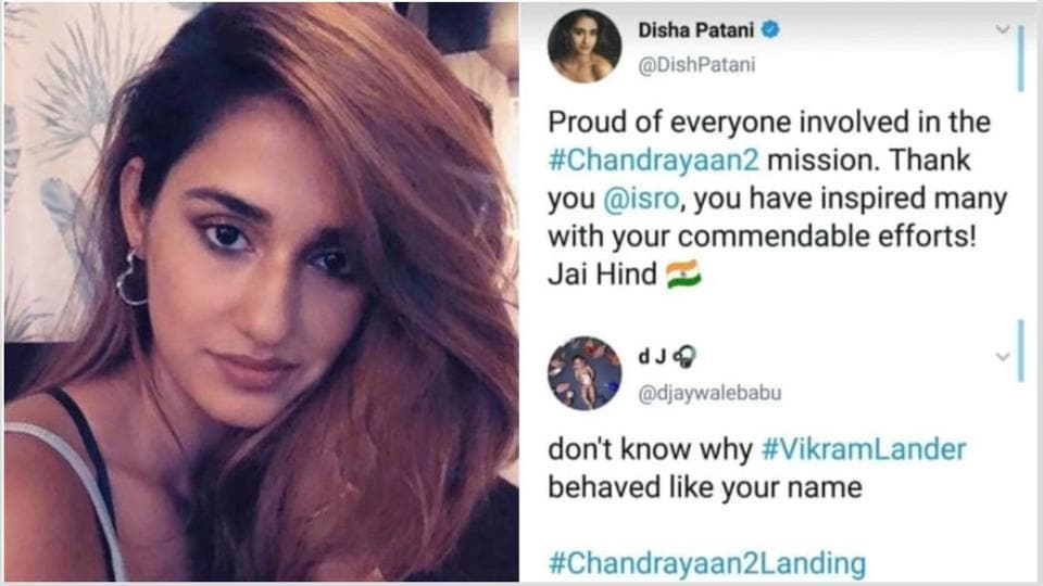 Disha Patani shared a message of support for ISRO  but one Twitter user had other plans.