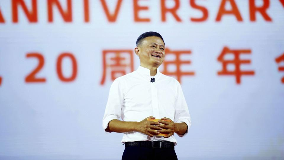 Jack Ma, founder of the Alibaba Group, speaks at the company's 20th-anniversary celebration in Hangzhou in eastern China's Zhejiang province, Tuesday, Sept. 10, 2019.