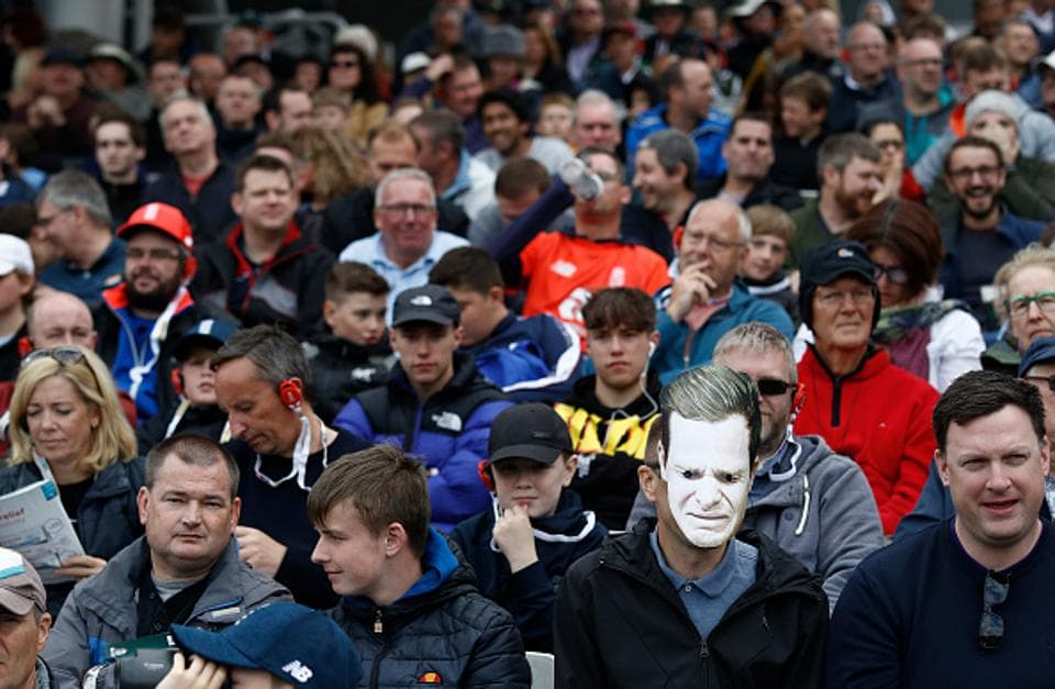 A spectator wears a Steve Smith mask during day four of the 4th Specsavers Test between England and Australia at Old Trafford on September 07, 2019 in Manchester, England.