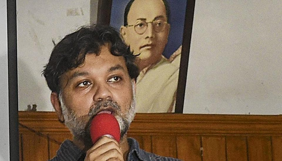 National Award-winning director Srijit Mukherji during the trailer release of his upcoming film Gumnaami at All India Forward Bloc office, in Kolkata.
