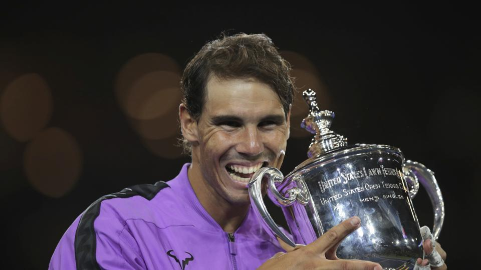New York: Rafael Nadal, of Spain, poses with the championship trophy after defeating Daniil Medvedev, of Russia, to win the men's singles final of the U.S. Open tennis championships Sunday, Sept. 8, 2019, in New York. AP/PTI(AP9_9_2019_000007A)