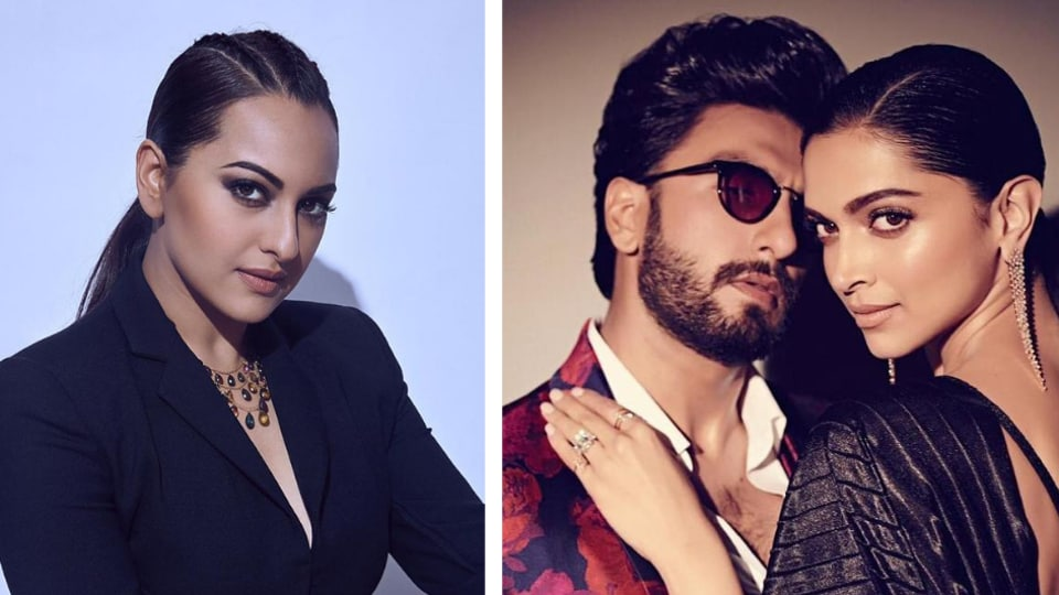 "Sonakshi said, ""Ranveer has his own style sense and whatever he wears, he carries it really well. Deepika is really beautiful, so whatever she wears, she looks nice in it."""