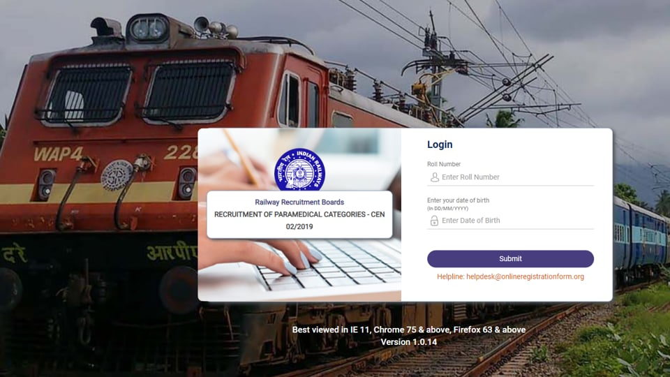 RRB Paramedical document verification schedule, e-call letter released