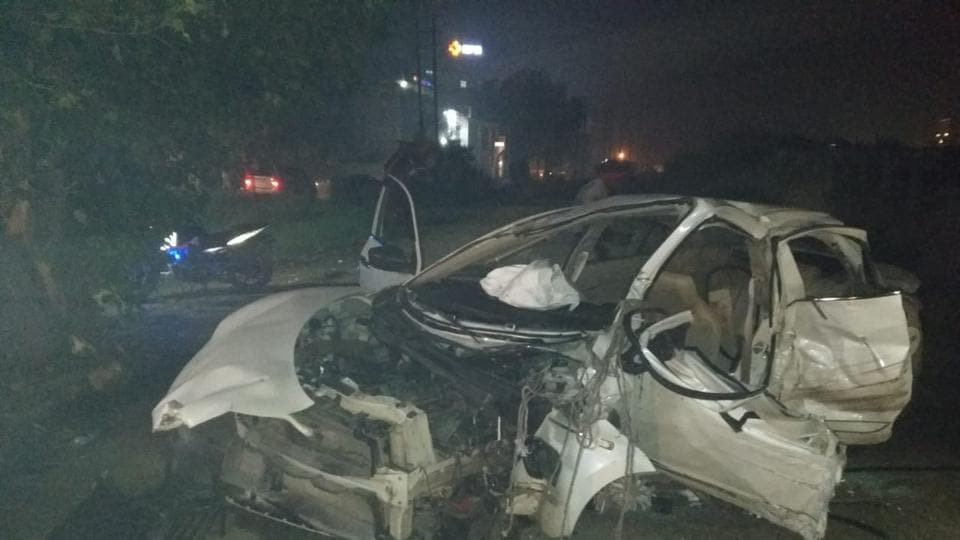 The mangled remains of the Maruti Swift Dzire car that overturned near Sherpur Chowk on Wednesday