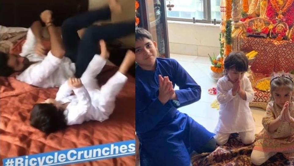 Taimur performing bicycle crunches with Armaan Jain and posing for the camera with Kiaan and Roohi. (right)