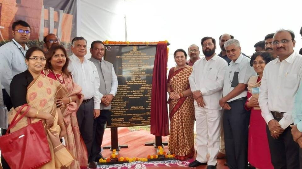 Maharashtra Public Works Department Minister Eknath Shinde (in grey jacket) at the foundation stone laying ceremony of a 30-bed state government hospital in Aundh on Sunday.