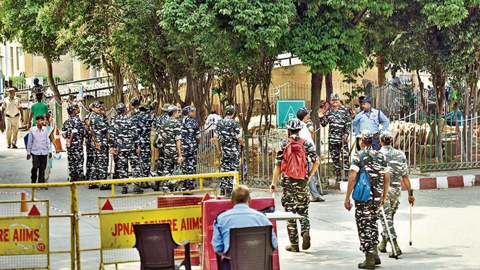 Security personnel outside the AIIMS trauma centre in New Delhi on Wednesday.