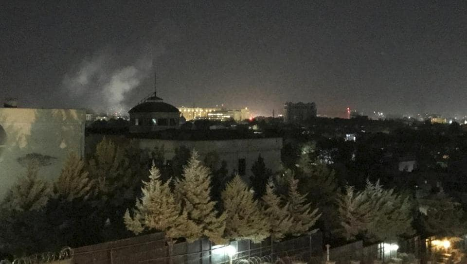 A plume of smoke rises near the U.S. Embassy in Kabul, Afghanistan on Wednesday, Sept. 11, 2019. A blast was heard shortly after midnight on the anniversary of the 9/11 attacks.