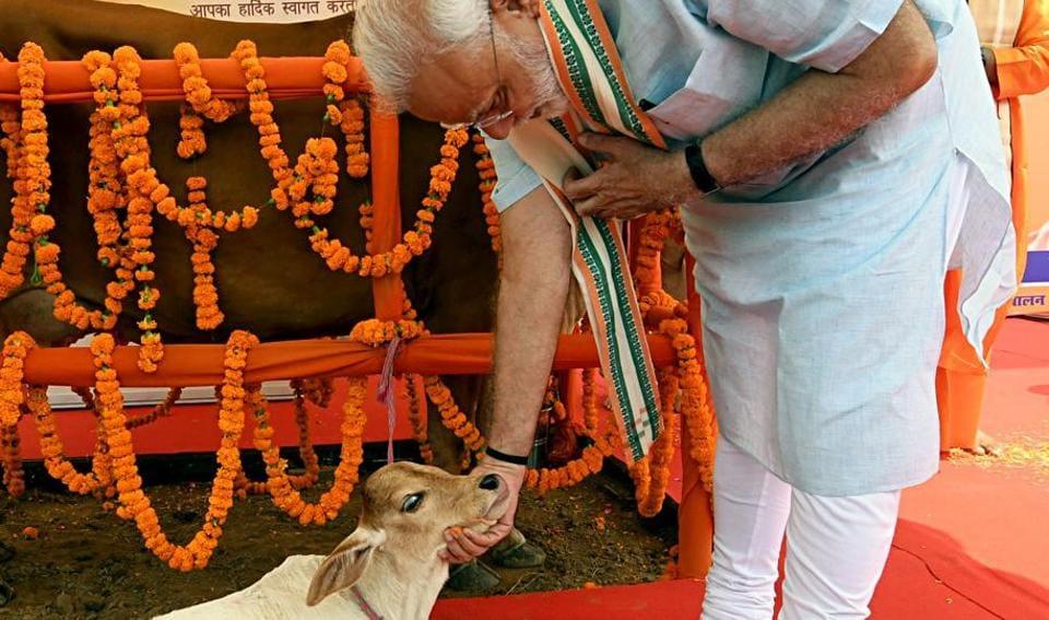 Prime Minister Narendra Modi during the Pashu Vigyan Evam Arogya Mela, in Mathura on Wednesday.