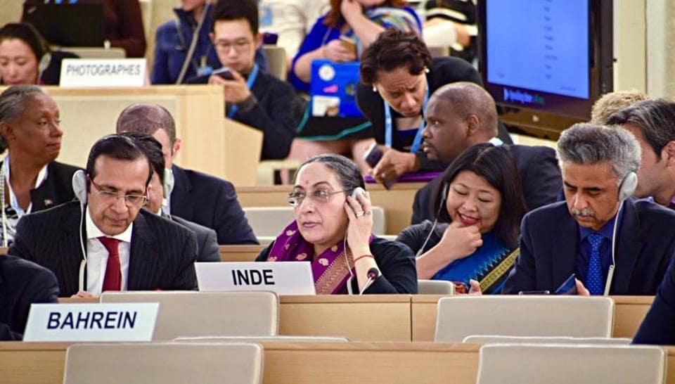 Switzerland, September 10 (ANI): Secretary (East) MEA, Vijay Thakur Singh (C) at the UNHRC in Geneva on Tuesday. ()