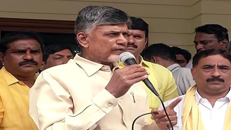 TDP Chief N Chandrababu Naidu addresses followers from his residence in Amaravati on Wednesday. ()