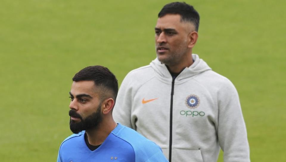 India's captain Virat Kohli, left, and MS Dhoni during a training session