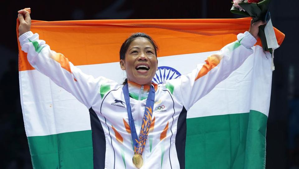 M.C. Mary Kom celebrates after winning the Womens Flyweight Final at 2014 Asian Games.