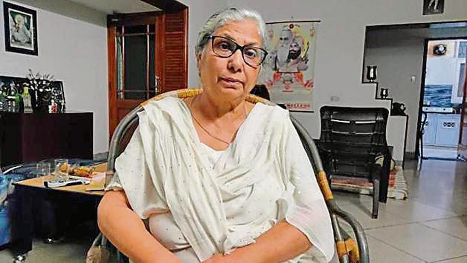 Shalini Khanna, the widow of Squadron Leader Ravi Khanna, at her house in Jammu, Wednesday, September 11, 2019.