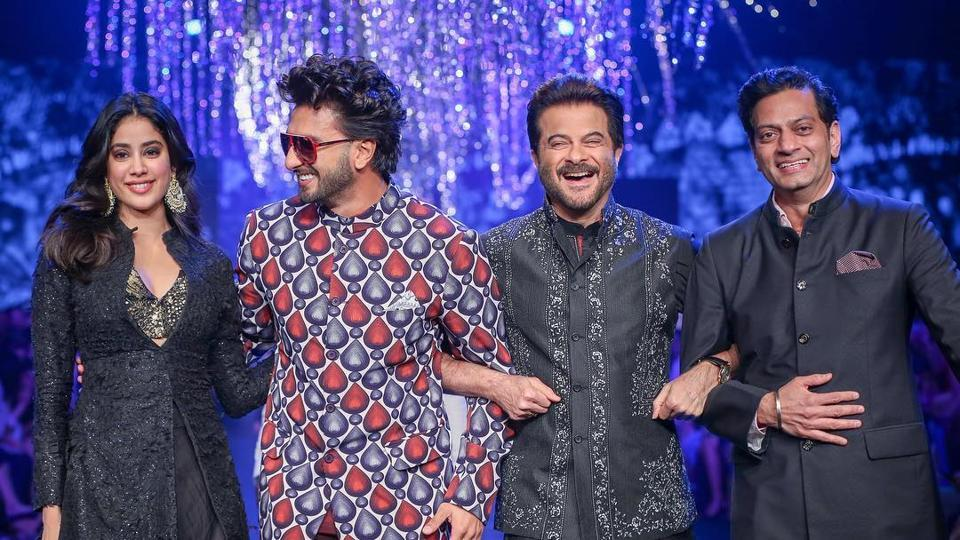 Raghavendra Rathore walks the ramp with Jahnavi Kapoor, Ranveer Singh and Anil Kapoor. Rathore has dressed the likes of Sonam Kapoor, Saif Ali Khan, Ranbir Kapoor, among others, has understood the dynamics of the fashion industry ahead of the curve and understood the scope of scalability.