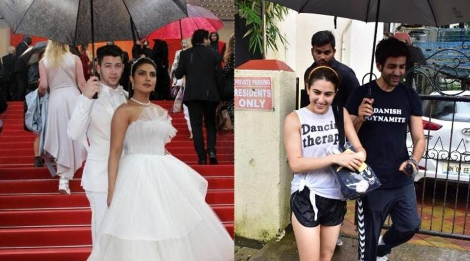 Nick Jonas holds umbrella for Priyanka Chopra at Cannes (left), Kartik Aaryan holds an umbrella for Sara Ali Khan at the gym (right).