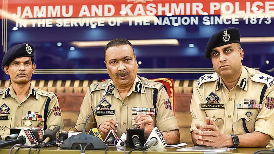 Director General of Police Dilbagh Singh (C) along with Inspector General of Police Kashmir Swayam Prakash Pani (R) are seen during a press conference at Police control room, in Srinagar, India, September 11, 2019.