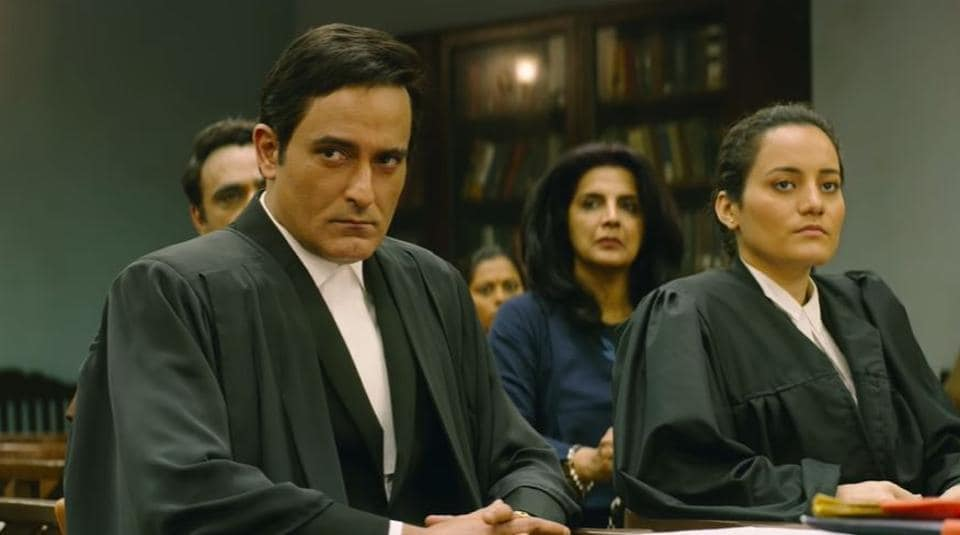 Section 375 movie review: Akshaye Khanna plays a brutal lawyer in the film.