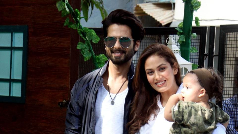 Bollywood actor Shahid Kapoor and his wife Mira Rajput at the birthday party of their daughter, Misha.