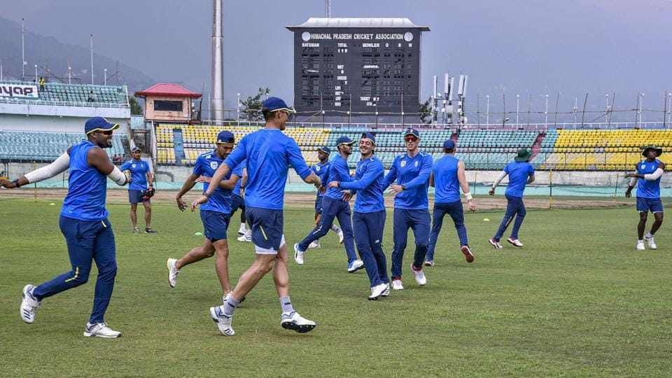 South African players during a practice session at the Himachal Pradesh Cricket Association cricket stadium in Dharamshala