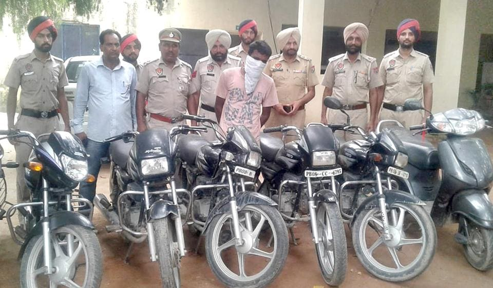 The Salem Tabri police team along with six recovered vehicles in Ludhiana on Thursday.