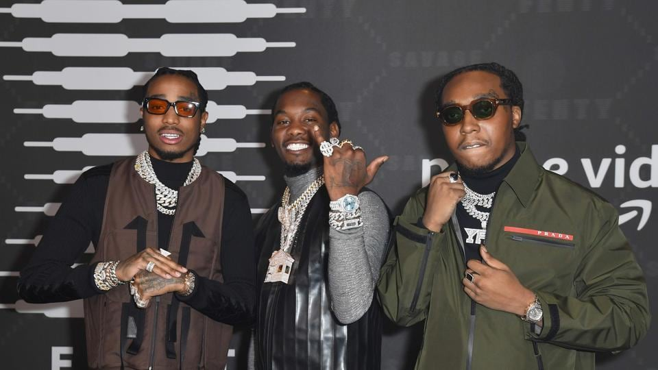 Hip Hop band Migos (Quavo, Offset and Takeoff) arrive for the Savage X Fenty Show Presented By Amazon Prime Video at Barclays Center on September 10, 2019 in Brooklyn, New York. (Photo by Angela Weiss / AFP)