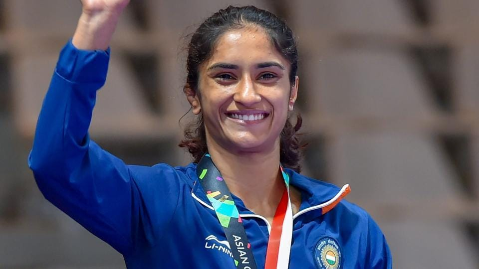 Vinesh Phogat poses during the medal presentation ceremony at the Asian Games 2018 in Jakarta.