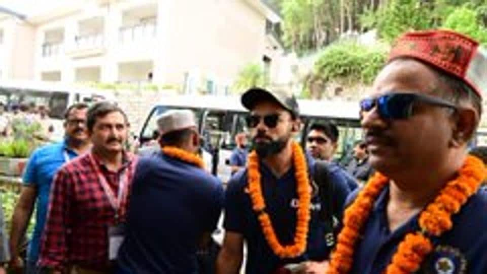 Indian cricket stars being welcomed inDharamshala. (BCCI/Twitter)