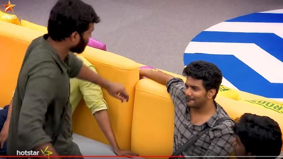Actors Pradeep Antony and Kalvin Raj in a promo video for Friday's episode of Bigg Boss Tamil season 3.
