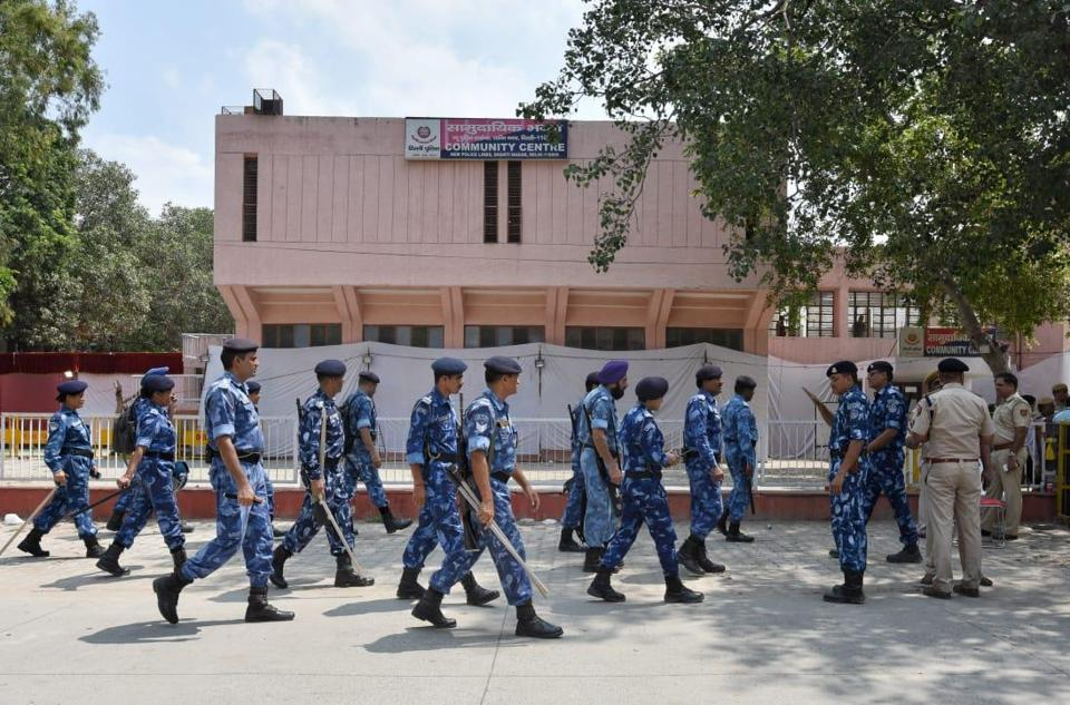 Heavy security was deployed during the counting of ballots for DUSU elections at Police Lines, Kingsway Camp in New Delhi
