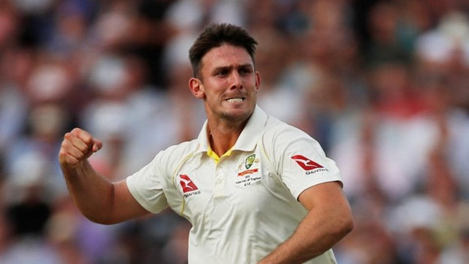 Australia's Mitchell Marsh celebrates taking the wicket of England's Sam Curran