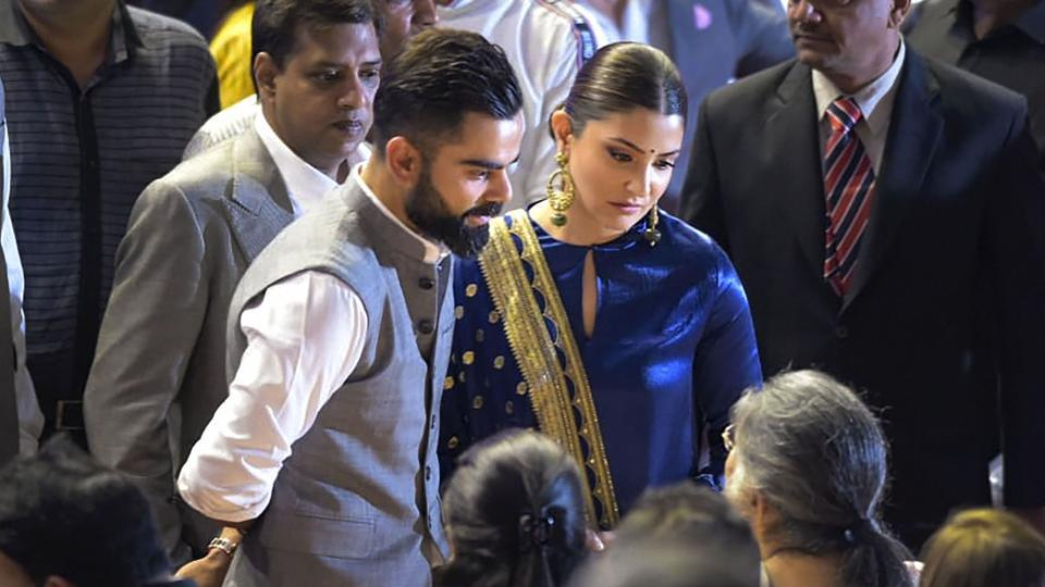Indian cricket team Captain Virat Kohli with his wife and Bollywood actor Anushka Sharma interacts with the family members of the late politician-cum-sports-administrator Arun Jaitley,at an event to rename Feroz Shah Kotla Stadium as 'Arun Jaitley Stadium'
